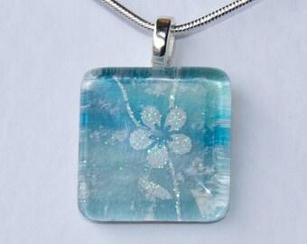 Handmade Glass Tile Blue & White Flower Pendant