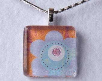 Handmade Glass Tile Blue & Orange Flower Pendant