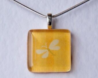 Handmade Glass Tile Yellow Butterfly Pendant