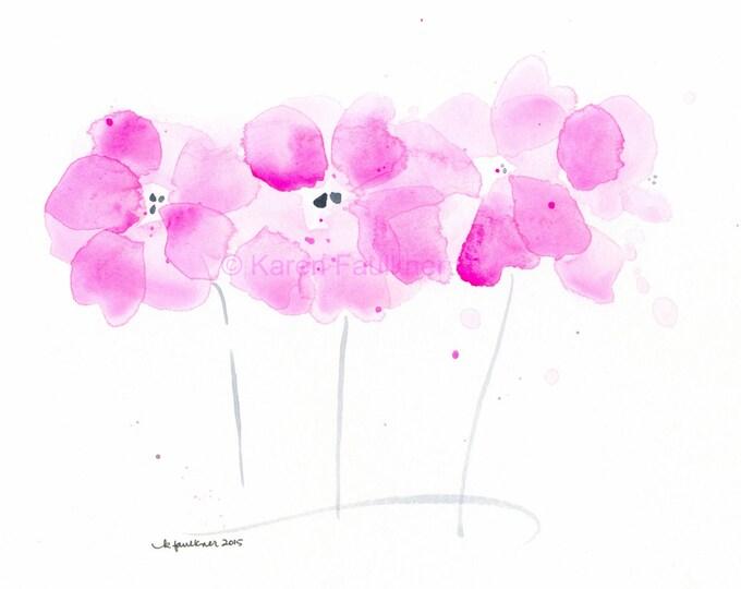 """Watercolor flowers, original watercolor painting of pink flowers: """"Flower Showers"""""""