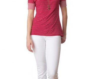 Seaway striped top in black or red bamboo jersey