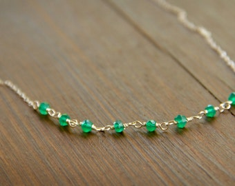 May Birthstone Necklace with Individually Wire Wrapped Green Onyx Beads in Sterling Silver