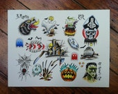 SALE - Halloween tattoo flash page