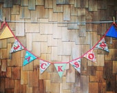 Custom Flag Banner, Personalized Bunting Flag Decoration. 9 Flags, 7 letters. Event Decoration, fabric bunting, nursery decor, garland.