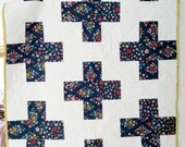 Plus Sign Modern Baby Quilt, Quilted Blanket Crib Bedding, Ready 2 Ship. Blue Floral Organic Cotton Fabric. Baby Shower Gift.  Custom too