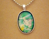 Sailor Neptune Sailor Moon Sailor Scouts recycled comic book pendant