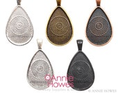 Pendant trays teardrop bezel cabochon cameo mounting settings trays. 5 Colors Silver, Vintage Silver, Gold