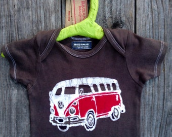 SALE VW camper bus westfalia Eco baby shower gift bodysuit one piece organic cotton hand dyed vintage black batik hippie girl Boys clothing