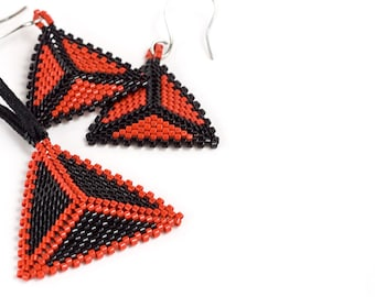 Beaded Triangle Earring and Necklace Set // Red and Black