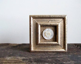 Decorative Gold Frame With Vintage Mother of Pearl Carved Buttons