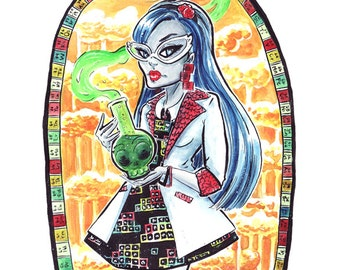 Mad Science Ghoulia Monster High Fan Print