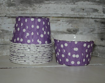 12 Purple Nut Cups, - Polka Dots, purple, white, Paper cups, Candy cups, Dessert Cups
