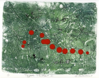 ORIGINAL work  / Tagged Thicket I //  green red ooak gelatin print composition handpulled print