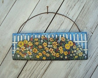 Flowers by a Fence Folk Art Yellow and Red Flower Primitive Painting on Reclaimed Wood Panel