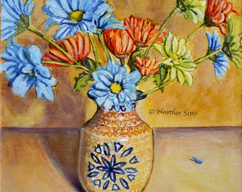 Polish Pottery Vase, Floral Still Life Art  for Kitchen Wall Art Print, Colorful Art, Floral Print, Daisies Print Giclee, Heather Sims