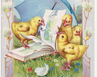 Pretty Vintage Easter Wishes Postcard with Chicks Reading a Book
