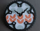 Bicycle Gear Clock - Petals and Dots | Bike Clock | Wall Clock | Recycled Bike Parts Clock