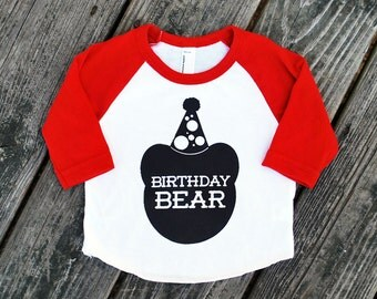 Birthday Bear Baby Red Raglan Sleeve Baseball TShirt with Black Print - Infant and Kids Sizes - First Birthday Party Gift