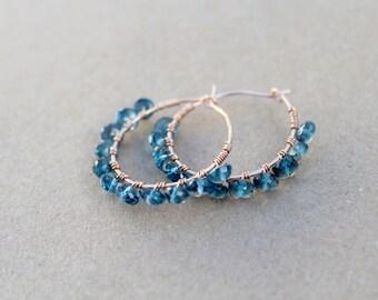 Wire Wrapped London Blue Topaz Hoop Earrings