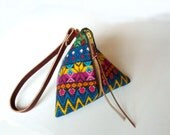 Mayan Pyramid Embroidered Pouch Triangle Bag Zippered Mini Purse Wristlet