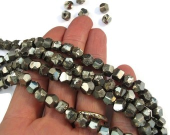 Pyrite Nugget Beads, 4 Inch Strand, 6mm-7mm Natural Gemstones for Making Jewelry, About 20 Rough Natural Pyrite Beads (S-Py1b)