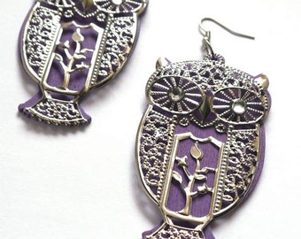 Purple Owl Earrings - vintage 80's