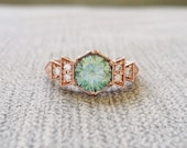 """Antique Diamond Mint Moissanite Engagement Ring Rose Gold 1920s Copper Gemstone Rustic Bohemian PenelliBelle Green Exclusive """"The Florence"""""""