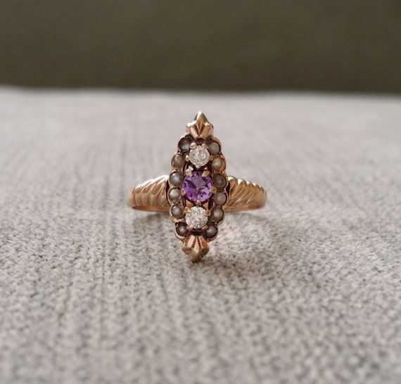 antique engagement ring seed pearl amethyst diamond rose gold. Black Bedroom Furniture Sets. Home Design Ideas