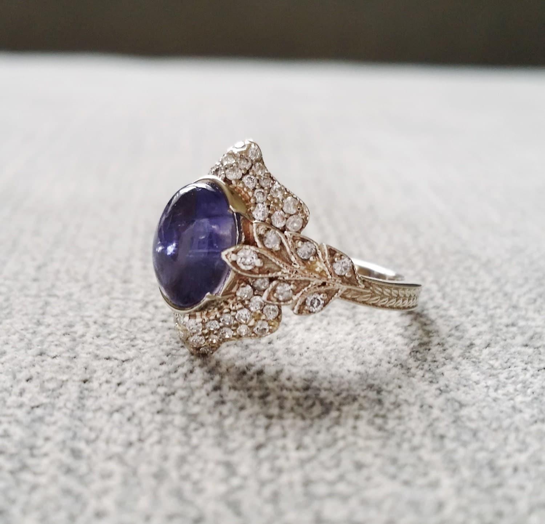 antique iolite ring gemstone engagement ring violet