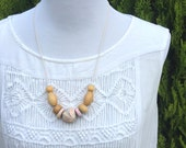 ON SALE! Pastel Marble Polymer Clay Necklace including Vintage Wooden Beads