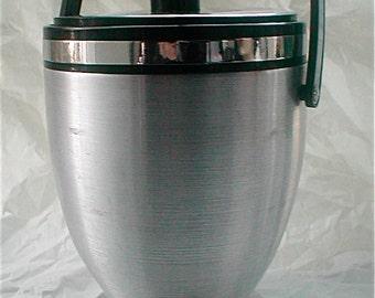 Kromex Spun Aluminum Ice Bucket - Silver Chrome Black - USA Made - Vintage 60s -  Plastic Liner Large Bar Bucket with Chrome Ice Tongs