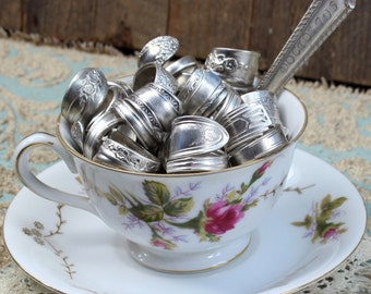 Sterling Silver Plated Spoon Ring Assortment - 5 Rings - Made from Antique Silverware - Great Eco Friendly Gift - Vintage Wedding Ideas
