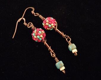 Sale Earrings, Beaded Bead Earrings, Seed Bead Earrings, Red and Turquoise Earrings, Glass Bead Earrings