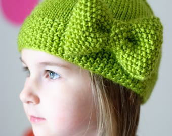 PDF Hat Knitting Pattern, The Älskling Bow Hat Sized Baby to Adult