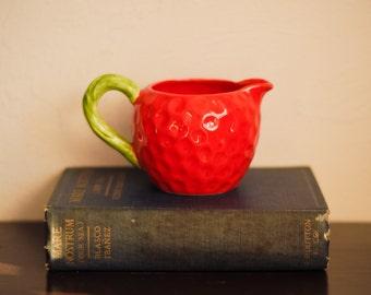 Small Vintage Fitz & Floyd Red Strawberry Coffee Tea Creamer