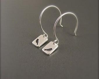 Tiny Bird Silhouette Handmade Sterling Silver Earrings
