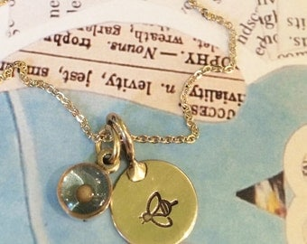 Bee The Change Mustard Seed and Bee Necklace / Gold Faith Mustard Seed Necklace / Faith Charm / Small round Resin Charm