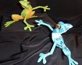 Blue or Green Funky Frog Oaxacan Woodcarvings from Zeny Fuentes Family Workshop