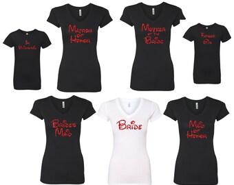 Bride Bridesmaid Maid of Honor tees DISNEY font  glitter design great  shirt V neck