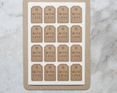 64 With Love Faux Gift Tag Kraft Stickers, With Love Stickers, Kraft Labels, Scrapbooking, Wedding Stickers, Envelope Seals