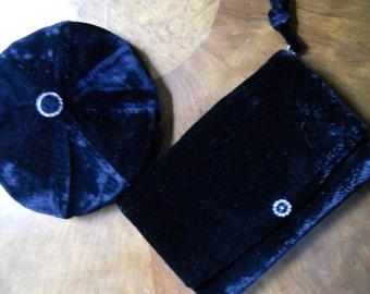 Vintage 1950s Rhinestone Black Velvet Tam Beret Hat Clutch Purse