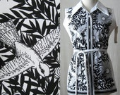 1970s Top Bird Print Sleeveless Shirt Black & White Deadstock Vintage 70s Blouse New Old Stock