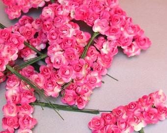 144 Hot Pink Paper Flowers - mini - Wedding Invitations scrapbooking paper goods