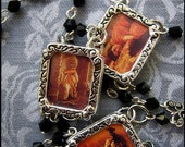 One of a Kind Pre-Raphaelite Charm Necklace with Jet Black Czech Beaded Chain & Filigree Accents