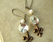 Orleans Earrings No.2, Fleur de lis dangle earrings, antiqued brass, old chandelier crystal drop earrings, weddings, rustic, vintage, gypsy