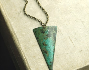 Long Geometric Layering Necklace, Verdigris Brass, Green Brass, Triangle, Long Necklace