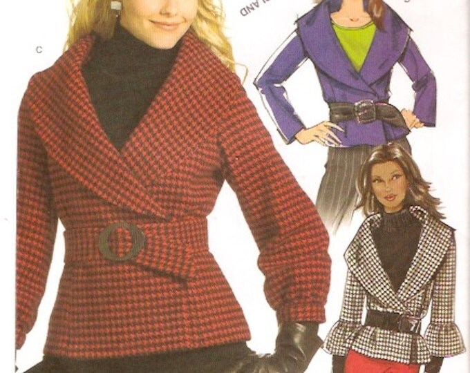 Chic Evening jacket with belt and shawl style collar sewing pattern Autumn Spring style Butterick 5087 Size 8 to 14 Uncut