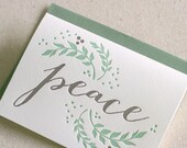 50 Holiday Note Cards, Peace with Olive Branches, Letterpress