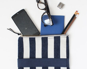 Navy and white stripes small clutch with zipper