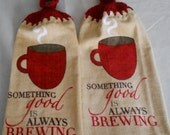 Coffee Brewing Theme Crocheted Handle Top Dish Towel Granny Kitchen Towel Hand Towel Set